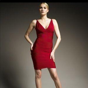 Herve Leger dark red dress